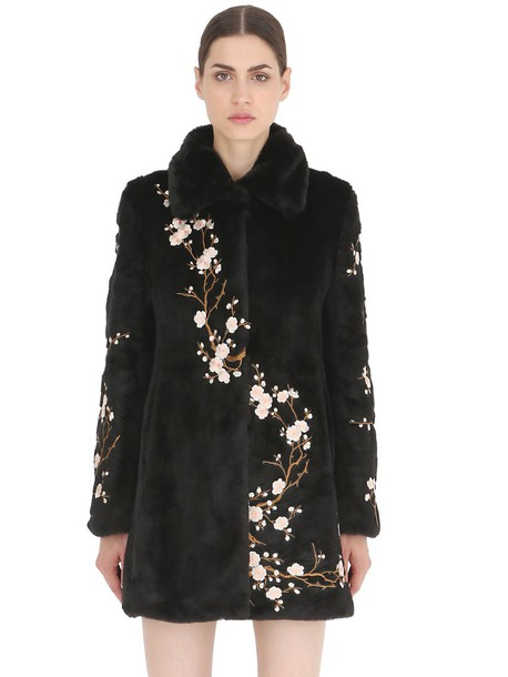 AINEA Floral Embroidered Faux Fur Coat In Black - Wheretoget