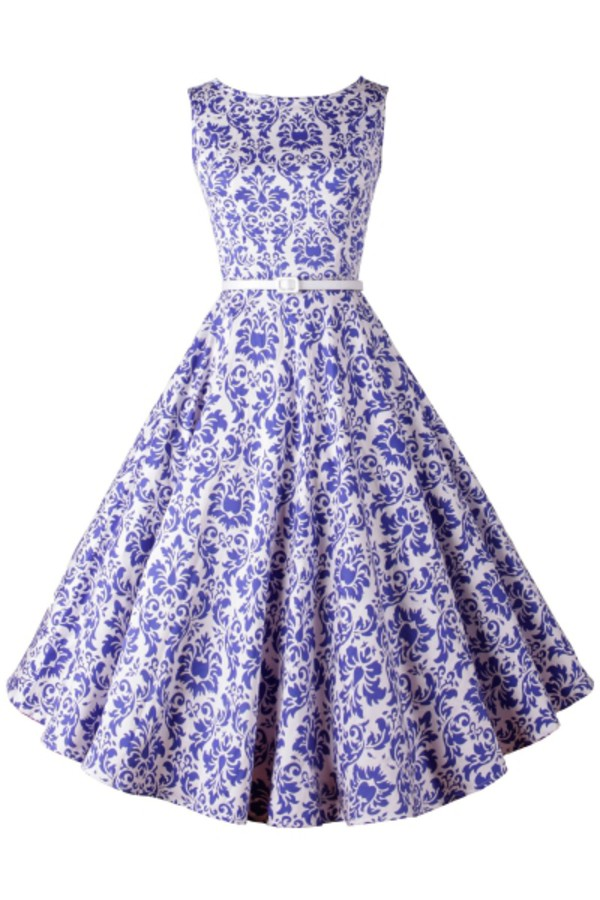 3af2d6778e9 Blue White Porcelain Sleeveless Swing Dress - OASAP.com