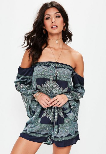 Missguided Navy Bardot Printed Playsuit