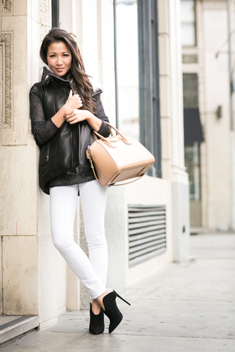 wendy's lookbook blogger winter jacket nude handbag white jeans winter outfits