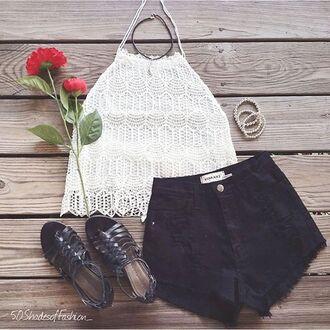 top lace white lace crop tops black denim shorts denim shorts black denim black shorts