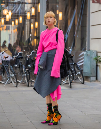 shoes stockholm fashion week streetstyle balenciaga boots floral floral boots sock boots dress midi dress pink dress long sleeves long sleeve dress
