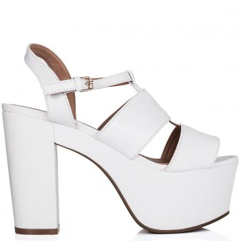Buy CRUISE Cut Out Platform Gladiator Sandal Shoes White Leather Style Online
