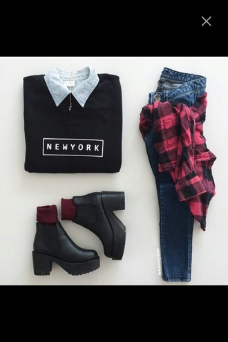 sweater boots fashion jeans flannel shirt flannel denim shirt new york city outfit