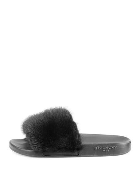 Givenchy Mink-Fur Flat Slide Sandal 531d077fc
