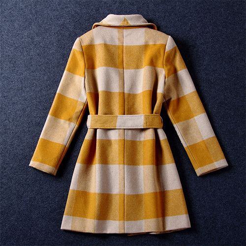 [grxjy56002548]fashion grid pattern lapel woolen coat with sash