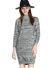 dress,sweater dress,grey sweater dress,mock neck dress,knitted dress,fall dress,winter dress,casual dress,day dress,pixie market,pixie market girl