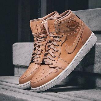 shoes air jordan tan leather sneakers basketball dope cool retro jordans
