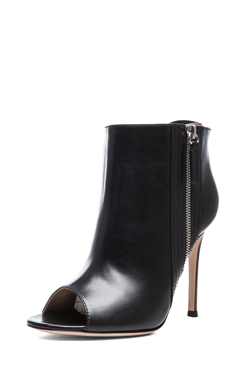 Gianvito Rossi | Open Toe Leather Booties in Black