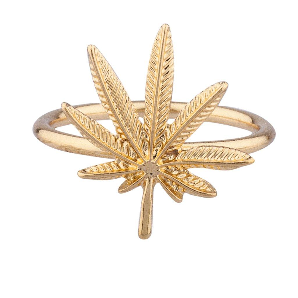 Lux Accessories Goldtone Marijuana Weed Ring: Lux Accessories: Amazon.co.uk: Jewellery