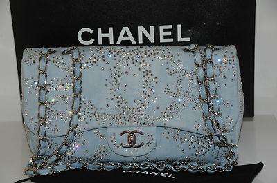 98610f433b62 New Chanel Classic Jumbo Flap Bag Purse Blue Denim Crystals CC Strass | eBay