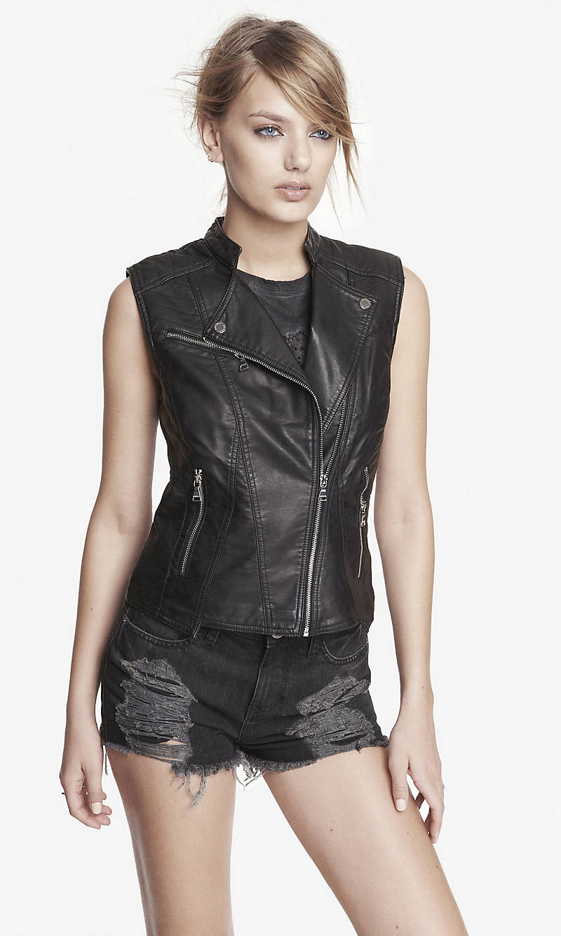 QUILTED (MINUS THE) LEATHER MOTO VEST from EXPRESS
