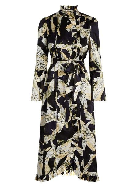 Erdem dress satin dress print silk satin black