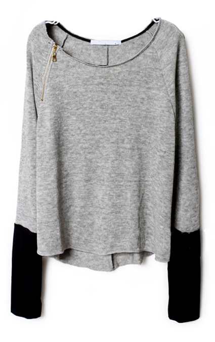Light grey zippered curved hem jumper