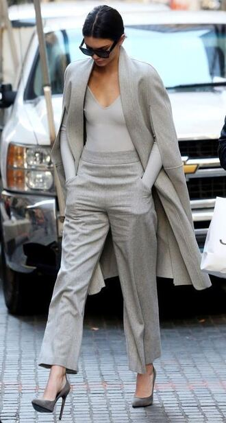 top pants grey kendall jenner fall outfits wide-leg pants bodysuit all grey everything all grey outfit