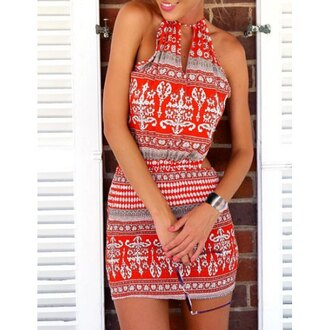 dress red dress summer fashion style trendy pattern hot spring rose wholesale-ma girly girl girly wishlist