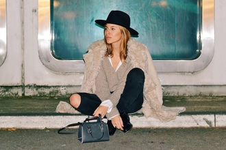 maja wyh blogger beige coat fuzzy coat black ripped jeans mini bag black hat