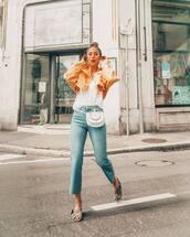 jeans,top,jacket,orange jacket,denim,shoes,bag
