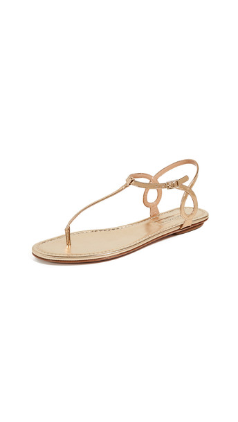 Aquazzura Almost Bare Flat Sandals in gold