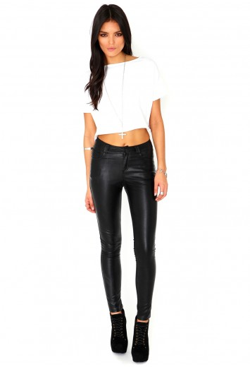 Amaia Leather Trousers - Trousers - Missguided