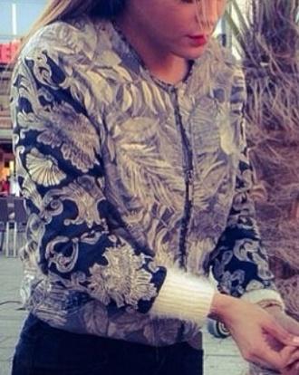 jacket beige black flower patterned vintage love more zip spring jacket chanel style jacket