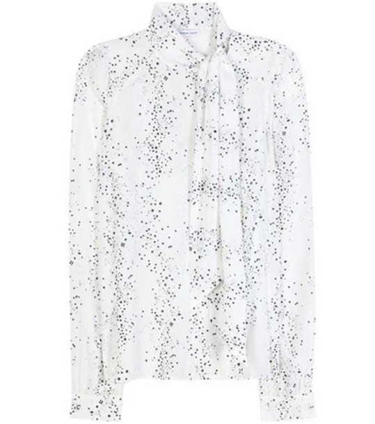 Tomas Maier Printed Silk Blouse in white