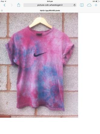 shirt purple acid wash tie-dye nike purple tie-dye tie dye