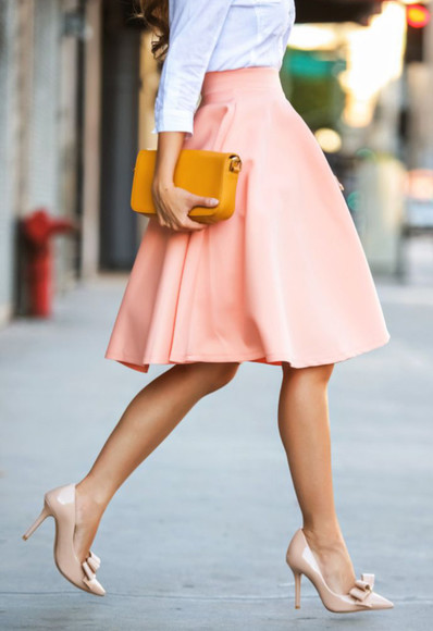 audrey hepburn skirt peach skirt chic maxi skirt a-line dresses shoes