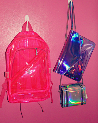 bag holographic transparent  bag clutch purse backpack bookbag