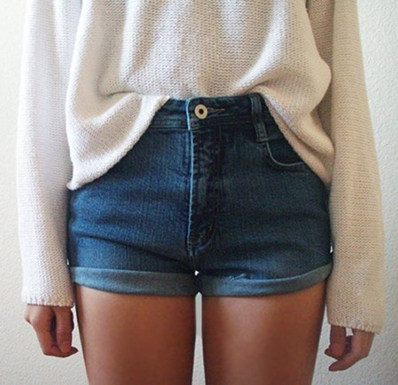 shorts sweater denim high waisted denim shorts tucked in oversized white sweater trendy high waisted short jeans short blue dark jumper knitwear