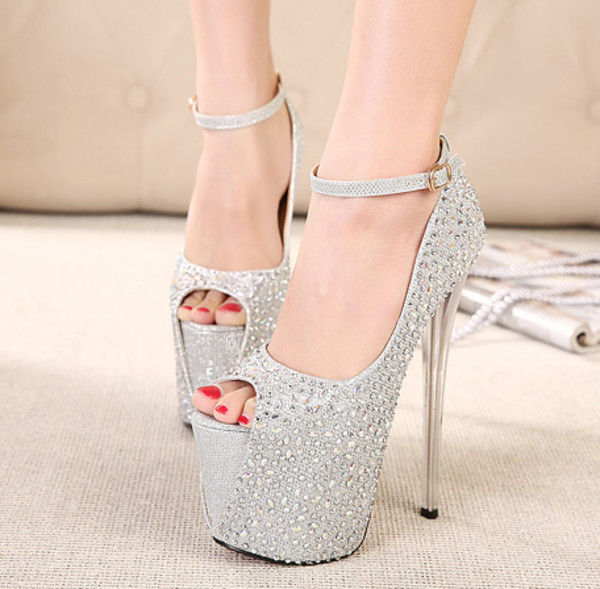 shoes rhinestones heels women girl party black silver