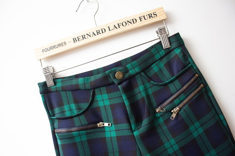Green High Waist Plaid Elastic Pant - Sheinside.com