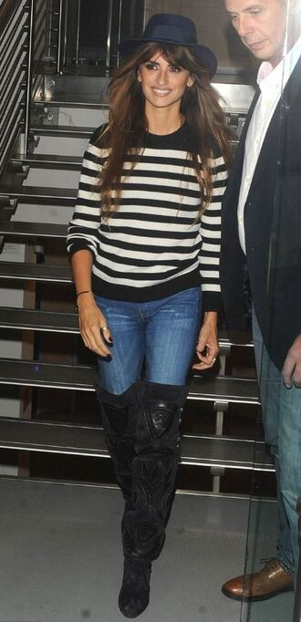 sweater stripes striped sweater penelope cruz fall outfits fall sweater over the knee boots shoes