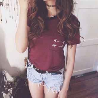 blouse choker necklace red burgundy arrow arrows tumblr tumblr outfit tumblr girl tumblr clothes tumblr shirt tumblr shorts