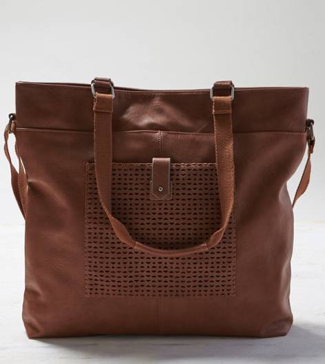 AEO Perforated Pocket Tote Bag, Cognac | American Eagle Outfitters