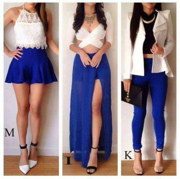 skirt crop tops slit skirt jacket white blue skirt electric blue whit crop top, white, crop, off shoulder crop, crochet skinny pants