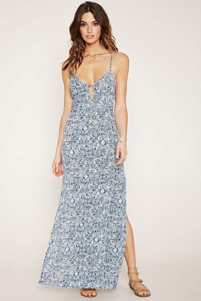 Dress Blue Dress Blue Maxi Dress Printed Dress Sleeveless