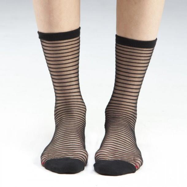 socks stripes women fashion sheer