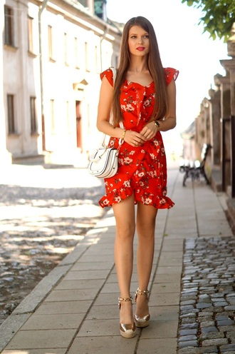 only my fashion style blogger dress bag jewels shoes red dress shoulder bag mini dress summer outfits