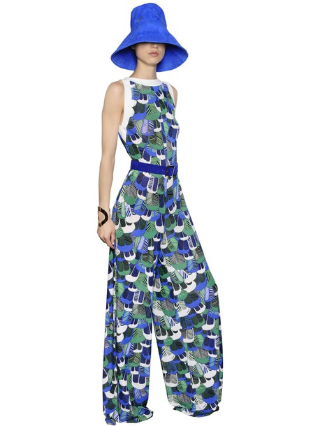 DSQUARED2 Feather Printed Crepe & Jersey Jumpsuit in blue / green