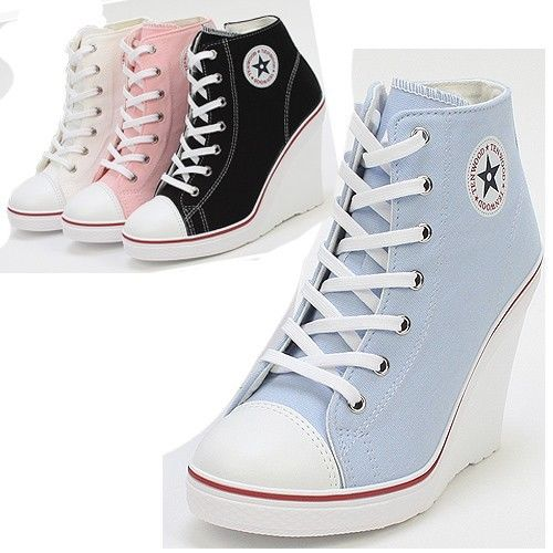 Platform Wedge Heels Sneakers Ankle Boots High Top Women's Girls Lace Zip Canvas | eBay