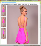 dress,hot pink dress,hot pink,open backed dress,sweetheart neckline