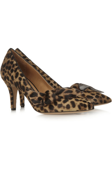 Print calf hair pumps