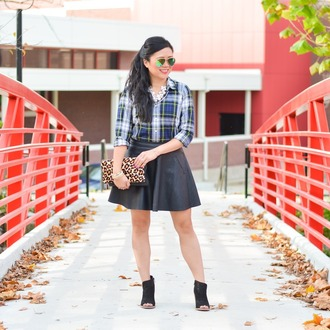 morepiecesofme blogger sunglasses jewels bag top skirt shoes plaid shirt black skirt animal print bag clutch peep toe boots ankle boots