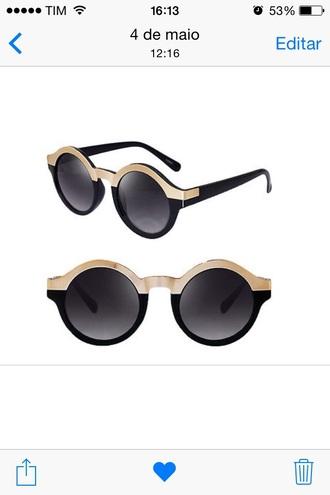 sunglasses black gold fashion