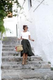 skirt,tumblr,wrap ruffle skirt,ruffle,asymmetrical,green skirt,sandals,flat sandals,bag,basket bag,t-shirt,white t-shirt,sunglasses,shoes