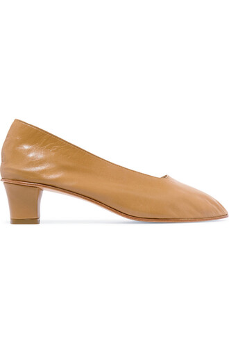 high pumps leather tan shoes