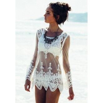 top beach top white lace long sleeves blouse fashion sunshine sexy