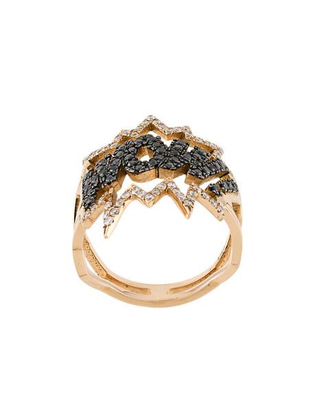 Diane Kordas rose gold rose women wow ring gold grey metallic jewels