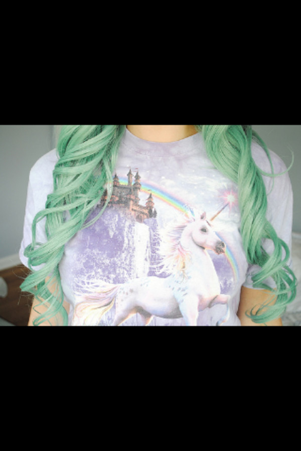 t-shirt unicorn rainbow green hair